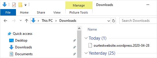 El archivo .xml descargado que contiene las páginas y los elementos del menú de navegación