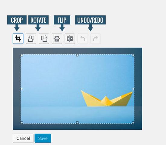 Botones de la barra de herramientas de imagen