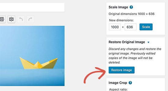 Restaurar la imagen después de editarla en WordPress