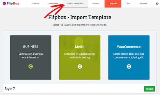 Importar una plantilla de flipbox