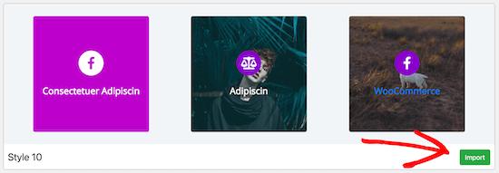 Flipbox haga clic en el botón de importación