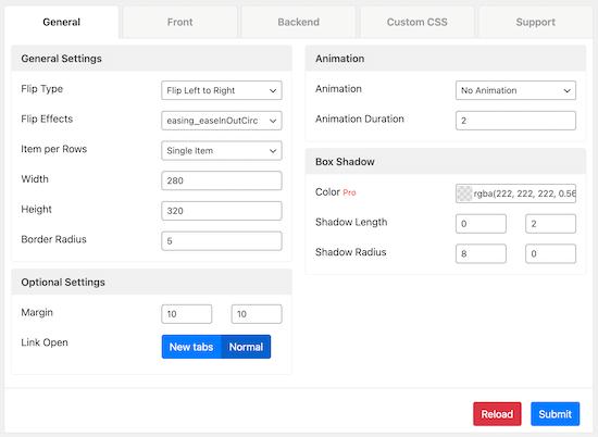 Menú de configuración general de Flipbox