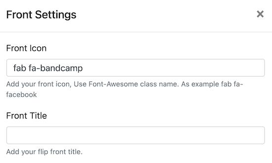 Cambiar el título y el icono del frente de flipbox