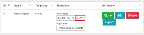 ID del widget de Flipbox