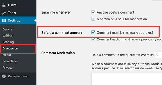 Habilitar la moderación de comentarios en WordPress