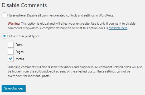 Deshabilitar comentarios para archivos adjuntos