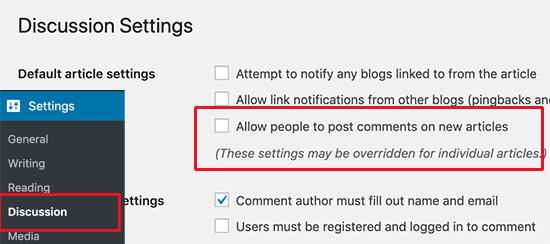 Desactivar comentarios