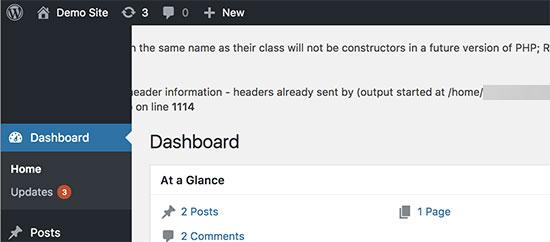 Modo de depuración de WordPress