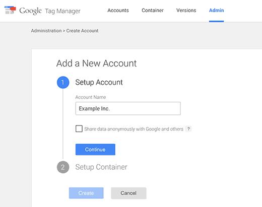 Creación de una cuenta de Google Tag Manager