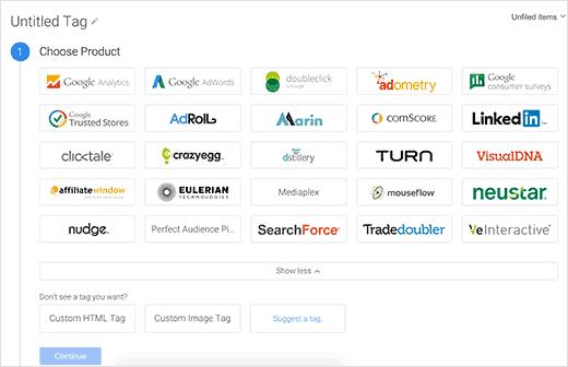 Elija Google Analytics como producto para su etiqueta