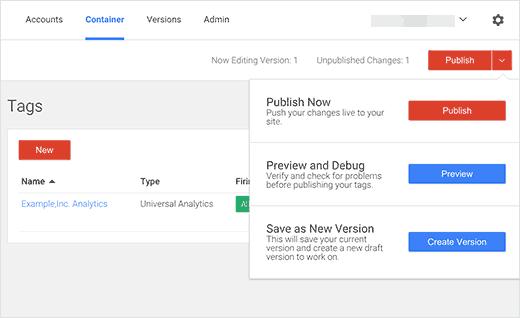 Publique sus cambios en Google Tag Manager