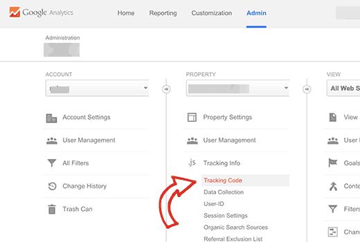 Encontrar su ID de seguimiento de Google Analytics