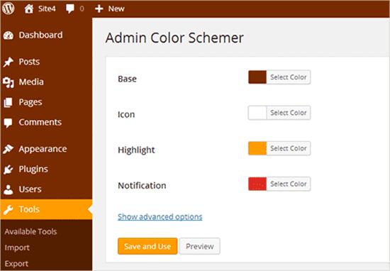 Esquema de color de administrador
