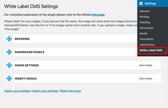 Configuración de White Label CMS