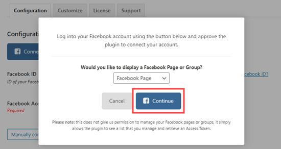 Continuar conectando Facebook Feed Pro a Facebook