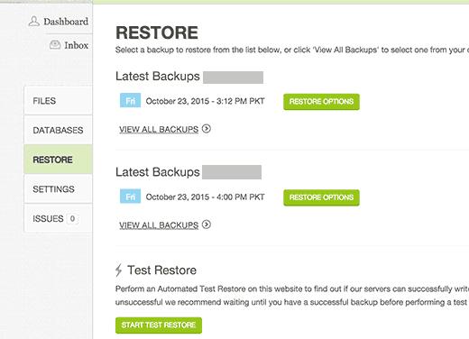 Restauración del sitio a partir de copias de seguridad en CodeGuard