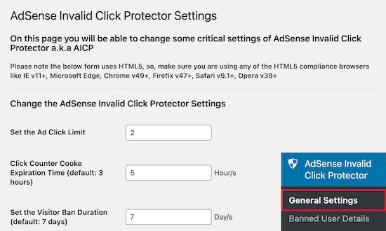 Configuración del protector de clics no válidos de AdSense