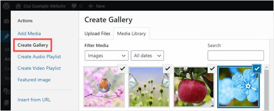 Crear una nueva galería usando la biblioteca de medios en el editor clásico