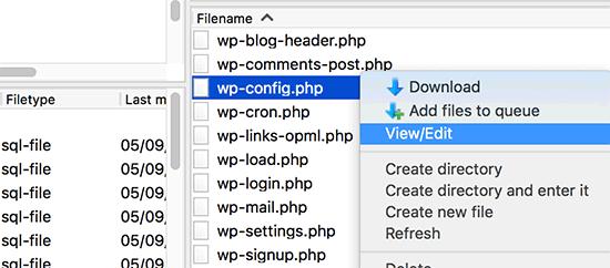 Edición del archivo wp-config.php a través de FTP