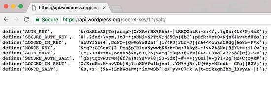 Generando claves de seguridad de WordPress
