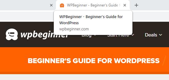 El lema de WPBeginner se muestra en la etiqueta del título
