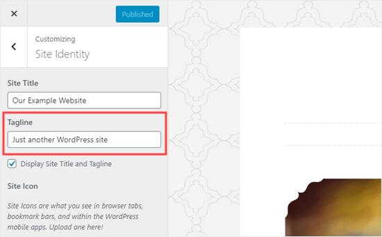 Cambiar el texto 'Solo otro sitio de WordPress' en el personalizador de temas