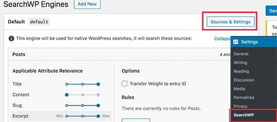 Elija fuentes de SearchWP