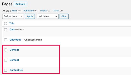 Eliminar accidentalmente páginas con nombres similares en WordPress