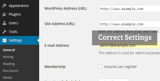 Corregir la configuración de URL de WordPress