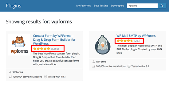 Revise las estrellas que se muestran en la búsqueda de complementos de WordPress