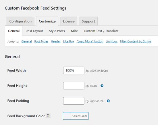 Las opciones de personalización para el complemento de feed de Facebook personalizado