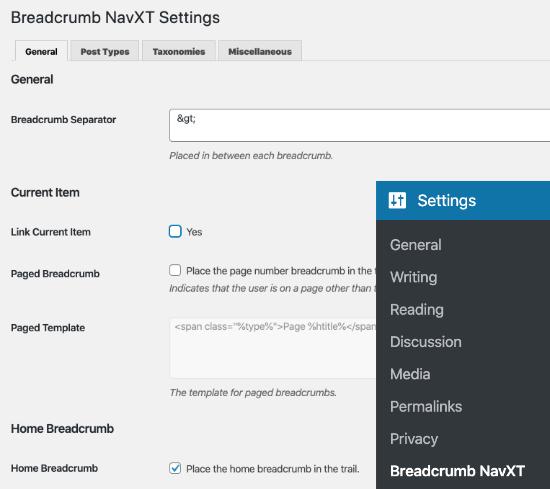 Página de configuración para el complemento Breadcrumb NavXT