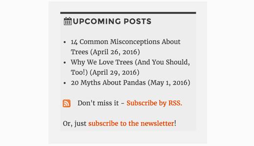 Vista previa de las próximas publicaciones en la barra lateral