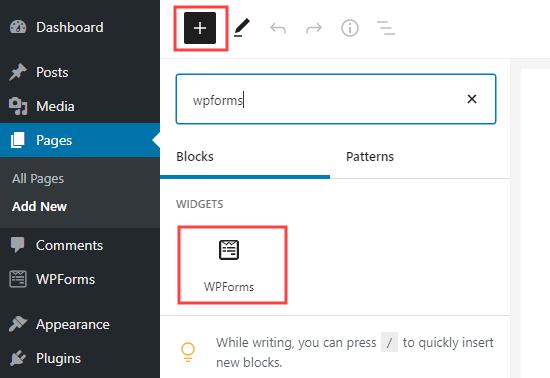Agregue un bloque de WPForms a su página en WordPress