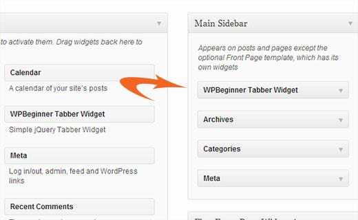 Arrastre y suelte el widget WPBeginner Tabber en su barra lateral