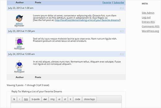 Respuestas de bbPress y formulario de respuesta al tema