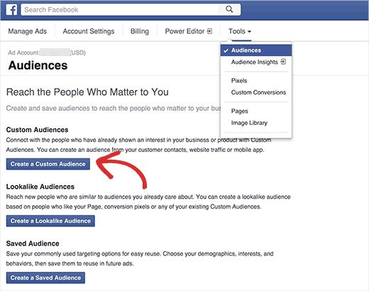 Audiencias personalizadas de Facebook