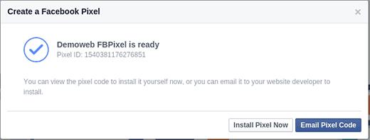 Facebook Pixel está listo para la instalación