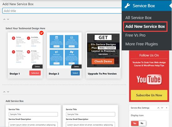 Creando un nuevo conjunto de cajas de servicios en WordPress