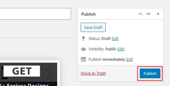 Haga clic en el botón publicar para publicar sus cuadros de servicio