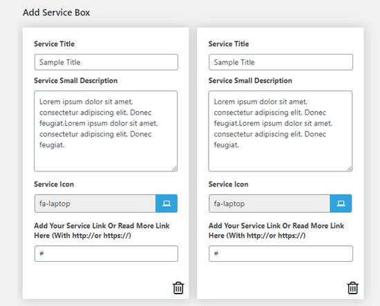 Ya se han creado dos cuadros de servicio con texto predeterminado