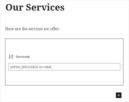 Pegar el código corto de las cajas de servicio en el bloque de código corto