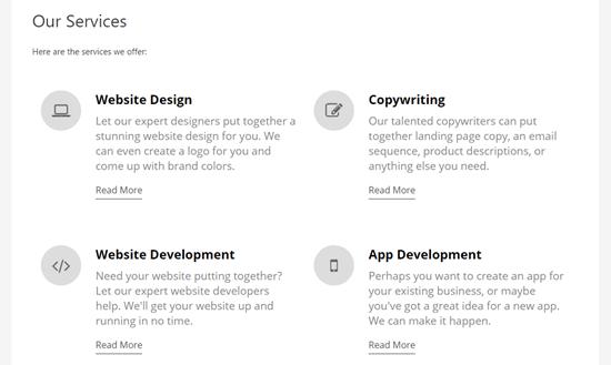 Una página de servicios completa con una sección de servicios