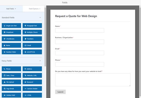 Modificar el formulario de solicitud de cotización