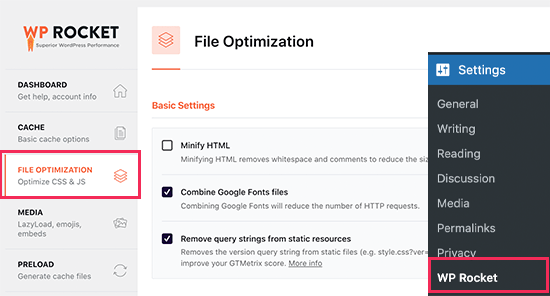 Optimización de archivos en WP Rocket