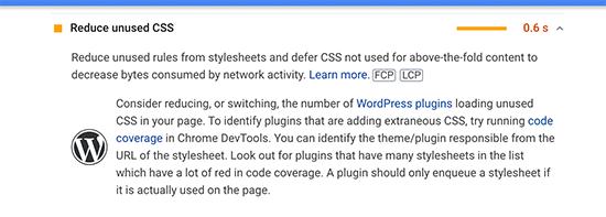 Problema de código CSS no utilizado en Google Pagespeed Insights