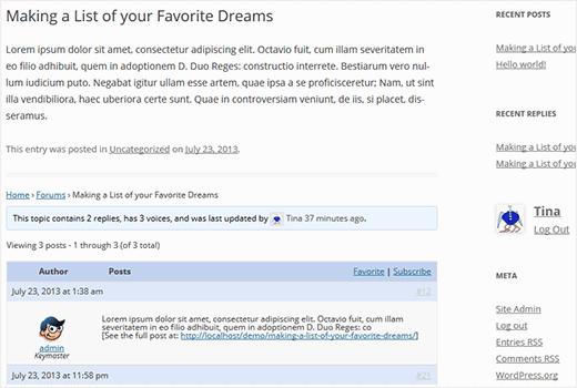 bbPress forum topics below WordPress posts as comments