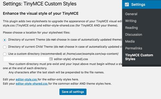 Configuración de estilos personalizados de TinyMCE