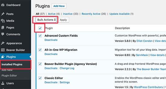 Desactive todos los complementos a través del área de administración de WordPress