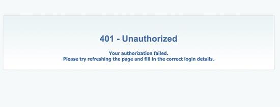 401 Error de autorización fallida